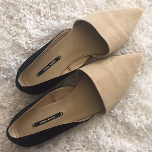 Size 37 Zara pointed two-toned flats